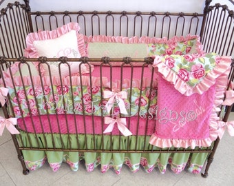 Baby Bedding: Tumble Roses Pink Baby Girl's Crib Bedding