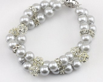 Grey pearl bracelet,Twisted pearl bracelet,Double strand pearl bracelet,pearl wedding bracelet,2 row bridesmaid bracelet,faux pearl bracelet