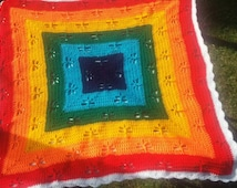 Rainbow Dragonfly Lap or Baby Blanket/Afghan/Throw