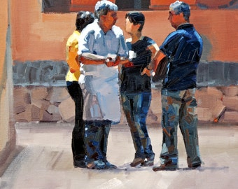 Original painting, impressionist painting, oil painting, wall art, street scene, painting, titled 'Serious Conversations'. Ready to hang.