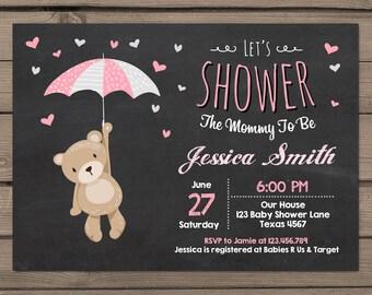 Teddy Bear Baby Shower Invitation Baby Shower invitation Baby girl Teddy Bear pink yellow Grey Gray Teddy bear shower Digital PRINTABLE DIY