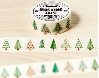 Christmas Tree Washi Tape -- Japanese Washi Tape -Deco tape-- 15mm x10M