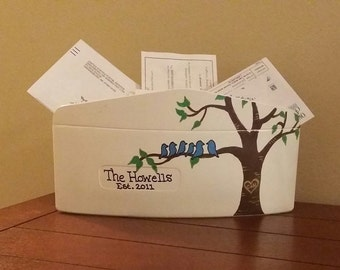 Custom Acrylic Family Tree Mail Envelope, Hard Acrylic Custom Family Envelope, Tree Mail holder with Birds