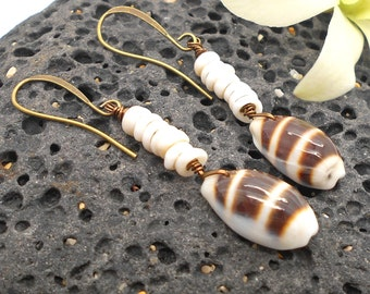 Shell Earrings, Puka Shell Earrings, Beach Jewelry, Sea Shell Earrings, Puka Shell, Beach Wedding, Silver Earrings Dangle Earrings