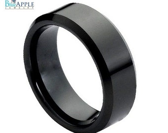 Black tungsten band for men 8mm width beveled edges Wedding Engagement Band Ring
