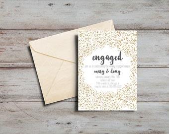 Gold Confetti Engagement Announcement