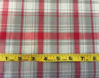 Madras Plaid Fabric- Red and Grey