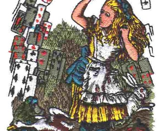 Embroidered Patch / applique - Alice & cards - Alice in Wonderland sew or glue on 3 x 4 inch ANY COLORS