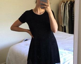 Black floral mini dress / small
