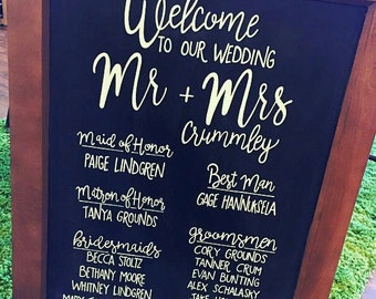 Wedding Party Sign - Wedding Program Board - Chalkboard Program