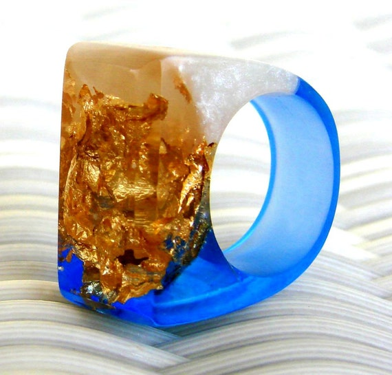 Tanzanite Resin Rings, Blue Gemstone Resin Rings, Gold Leaf Rings, Fashion Rings, Contemporary Rings, OOAK Rings, Blue Rings, ResinHeavenUSA