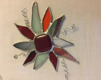 Red stained glass flower
