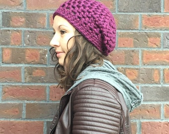 Purple Slouch Hat - Clematis Slouch  - Slouchy Beanie - Crochet Slouch Hat - Winter Slouch Hat - Winter Hat - Women's Hat