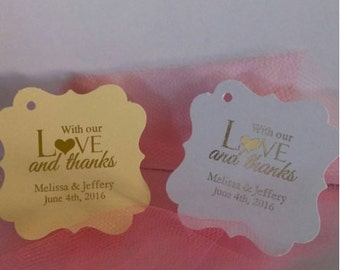 PERSONALIZED Rose Gold or Silver Embossed Foil Wedding Favor Tags Flourish Square With Love & Thanks Gift Tag