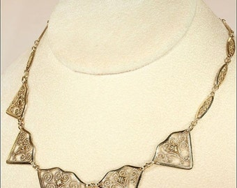 """SALE Antique French 18k Gold Hearts and Swirls Necklace, 18"""" Long"""