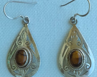 Handmade teardrops dangle earrings with tiger eye and sterling silver