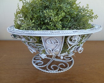 Vintage Painted White Wire Bowl Basket