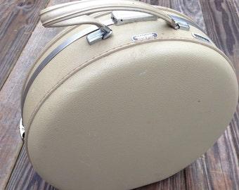 American Tourister Tiara Train Case Hat Box Style Retro Luggage Taupe