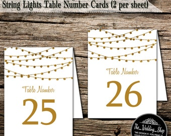 """Instant Download- Printable DIY Gold Glitter Effect Tent Style Wedding Table Number Card Template; 2 Per Sheet Of US Letter Size 8.5"""" x 11"""""""