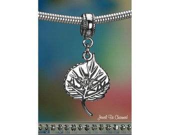 Sterling Silver Aspen Leaf Charm or European Style Charm Bracelet .925