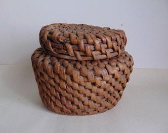 Vintage. Vintage wicker box,Bank.Handmade.