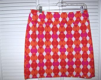 Vintage Hot Pink and Hot Orange Short Skirt For Spring Entree ! Size 14