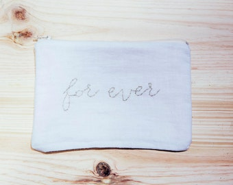 "Kit ""for Ever"" embroidered Golden cloth cotton white linen"