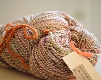 Handspun yarn, Aran weight yarn, variegated homespun yarn, Minnesota handmade, knitting supplies, 100 percent three ply wool yarn, wool yarn