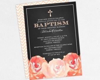Baptism Invitation, Christening Invitation, Girl Baptism, Printable Baptism Invitation, PDF, Chalk, Floral, Watercolor, Peony, Peach, Haley
