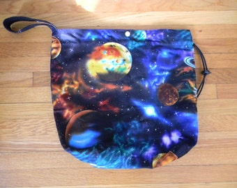Drawstring Knitting Project Bag with Pockets - Planets
