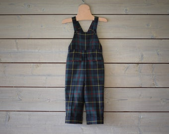 Vintage Pine Green Navy Blue Tartan Plaid Wool Overalls (Size 3/6 Months)