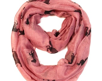 Galloping Horse Infinity Scarf in Pink