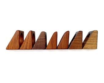 Teak Napkin Rings, Danish Modern Wood Napkin Holders, Mid Century Teak