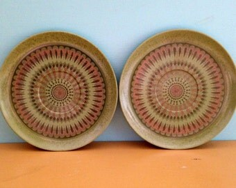 Vintage 1960s 60s 60's midcentury atomic olive green gold circle design small Melmac plates saucers matching set home kitchen decor