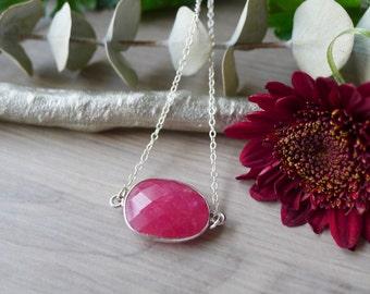 Ruby Necklace, Sterling Silver, Genuine Ruby, July Birthstone, July Necklace, July Gift, July Jewelry, Ruby Jewelry, Minimalist Ruby