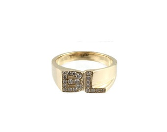 Diamond Initial Ring, 14kt yellow gold