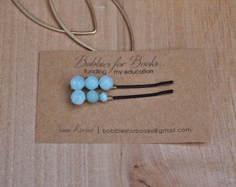Milky Blue Beaded Bobby Pins