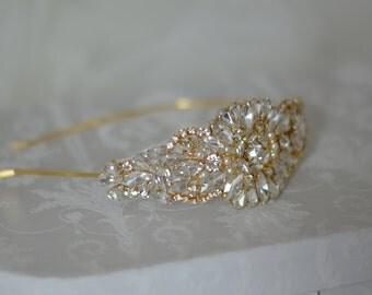 GOLD Crystal and Pearl Bridal Headband, Rhinestone Wedding Headband
