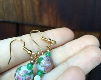 Gold glass Flower Earrings