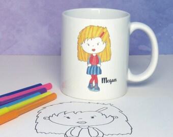 Design Your Own Avatar Mug - Art Kit - Unique Gift - Personalised Name Mug - Colour In Artwork
