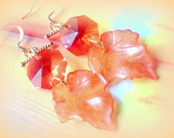 Handmade Earrings, Orange Earrings, Prism Earrings, Leaf Earrings, Lucite Earrings, Boho Earrings, Peach Earrings, Earrings for Fall