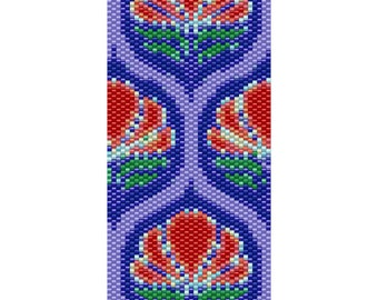 Lotus Peyote Cuff Beaded Bracelet Pattern
