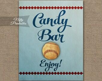 Candy Bar Sign - Baseball Candy Buffet - Printable Baseball Candy Table Signs - Baseball Baby Bridal Shower Birthday Sign Baseball Decor BSB