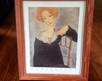 Modigliani Print in Vintage Red Frame, Red Haired Woman, La Rousse