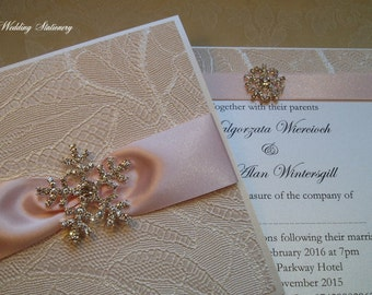 Snow Crystal. Crystal Snowflake Wedding Invitation with Lace Paper and Satin Ribbon.