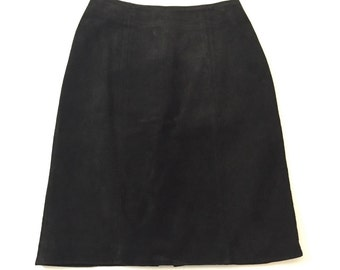 Vintage Black Suede Mini Skirt