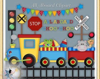 Choo Choo Train Clipart, Zoo Animals, Birthday Party, All Aboard