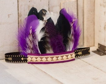 Turqoise Black and Red Aztec Feather Headband, Indie Headdress, Feather Crown