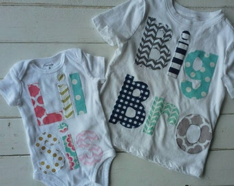 Boys Personalized appliqued big bro t-shirt and appliqued  girls lil sis onesie- gift set