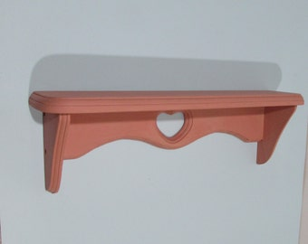Wooden Wall Shelf ~ Begonia Pink Shabby Shelf ~ Chalk Paint ~ Plate Groove Wooden Shelf ~ Cottage Décor ~  Shabby Chic